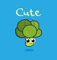 funny cartoon cute green smiling broccoli vector image vector image
