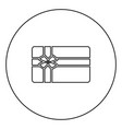 gift card black icon outline in circle image vector image vector image