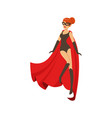 girl superhero in classic black comics costume vector image vector image