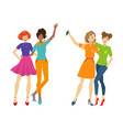 girls make selfie hugging set flat isolated vector image