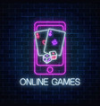 glowing neon sign of online games application in vector image