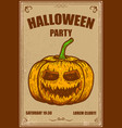 halloween party poster with pumpkin vector image