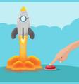 hand push button start rocket vector image vector image