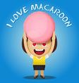 happy woman carrying big macaroon vector image vector image