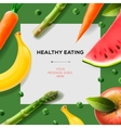 Healthy eating template with fruits and vegetables vector image vector image