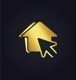 house pointer arrow gold logo vector image