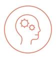 Human head with gear line icon vector image vector image
