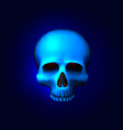 human skull isolated on black color blue object vector image vector image