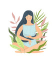 isolated meditation girl in nature flat design vector image vector image