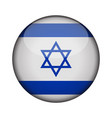 israel flag in glossy round button of icon israel vector image
