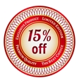 Label on 15 percent discount vector image vector image