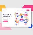 landing page template of social media influencer vector image vector image