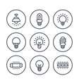 lighting light bulbs icons led cfl lamps vector image