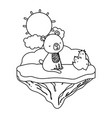 line nice bear seated in the float island vector image vector image