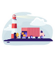 logistics transportation container ship with truck vector image