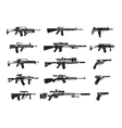 machine gun and handgun rifle pistol icons vector image vector image