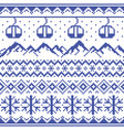 mountains and gondolas ski pattern vector image vector image