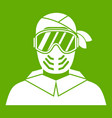 paintball player wearing protective mask icon vector image vector image