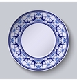 Plate with pattern in gzhel style of painting on vector image vector image
