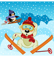 polar bear and penguin skiing vector image vector image