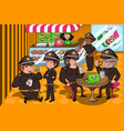 police officers in a donuts store vector image