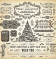 Retro Christmas Label and Icon Set vector image