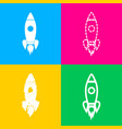 rocket sign four styles of icon on vector image