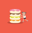 running man with donut health concept vector image vector image