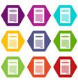 sales printed receipt icon set color hexahedron vector image vector image