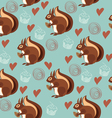 Seamless pattern with squirrels and nuts vector image