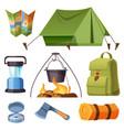 set camping equipment and stuff cartoon set vector image