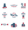 set of various patriot day graphics cards vector image vector image