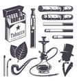 Set of vintage smoking tobacco elements vector image vector image