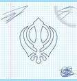 sikhism religion khanda symbol line sketch icon vector image