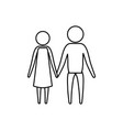 sketch silhouette of pictogram couple holding vector image vector image
