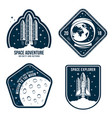 space badges with astronaut helmet rocket launch vector image