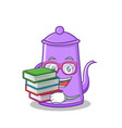 student with book purple teapot character cartoon vector image vector image