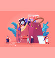 tiny women characters walk around huge female vector image vector image
