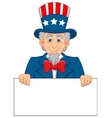 Uncle Sam cartoon and blank sign vector image vector image