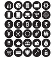 white fintech flat icons in front of black vector image