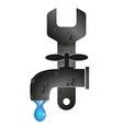 wrench and water tap vector image vector image