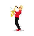 young man playing sax cartoon character saxophone vector image vector image