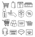 Online shopping line icons set vector image