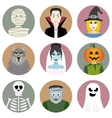Set of nine Halloween characters vector image