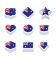 australia flags icons and button set nine styles vector image
