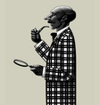 bald man with pipe and magnifying glass vector image