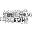 bean bag bed for pets text word cloud concept vector image vector image