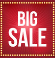 big sale type font and light bulb frame poster fo vector image vector image
