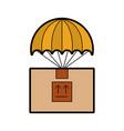 box carton with parachute delivery icon vector image vector image