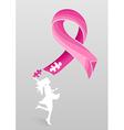 Breast cancer awareness ribbon woman help EPS10 vector image vector image